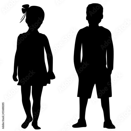 Obraz Silhouettes of boy and girl - fototapety do salonu
