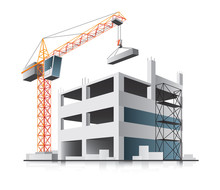 Building Construction With Crane