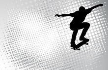 Skateboarder On The Abstract H...