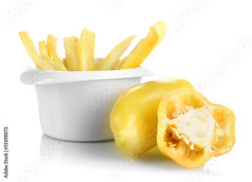 Recess Fitting Grocery Bright fresh pepper cut up slices in bowl isolated on white
