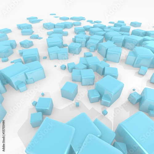 futuristic wallpaper with scattered cubes