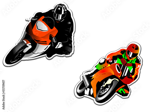Poster Motocyclette Motorcycle racers
