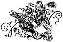 Muffler Explosion Tattoo Vector Clip Art