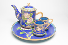 Chinese Cloisonne Tea Set With...