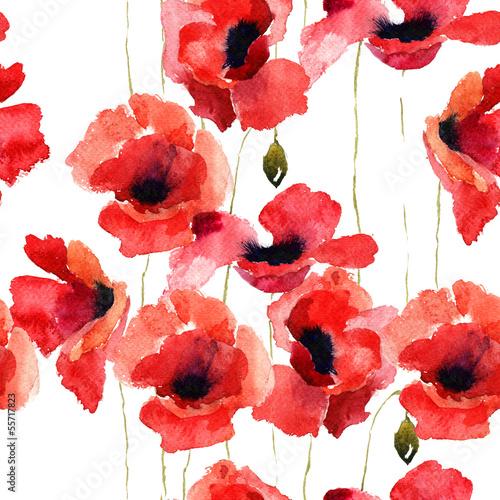 Ilustracja stylizowane kwiaty maku