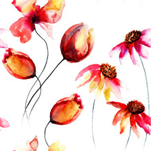 Seamless Pattern With Original Red Flowers