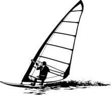 Vector Silhouette Of Windsurfe...