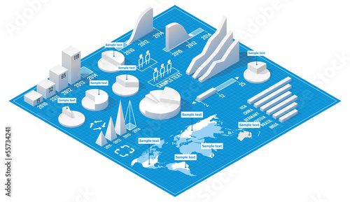 Fotografía  Vector isometric infographic elements