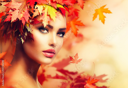 Fototapety, obrazy: Autumn Woman Portrait. Beauty Fashion Model Girl