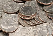 Close Up Of American Quarters
