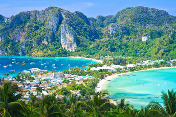 View point at Phi-Phi island in Krabi province of Thailand
