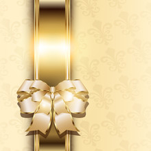 Christmas Background With Elegant Gold Banner And A Bow