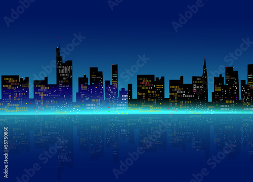 Tuinposter Dubai Night city sky line