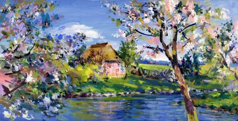 Panel Szklany Wiejski frühling landschaft malerei