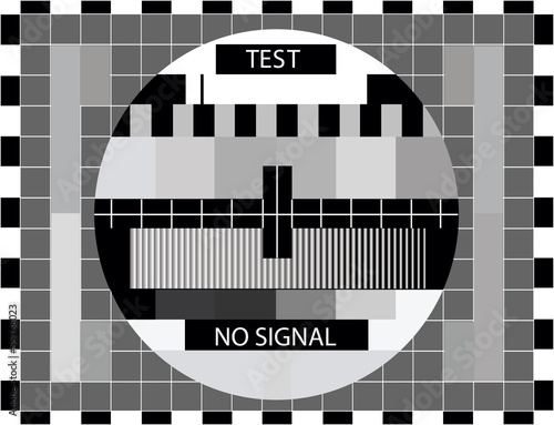 Fototapeta TV color test only in black and white color - illustration obraz na płótnie