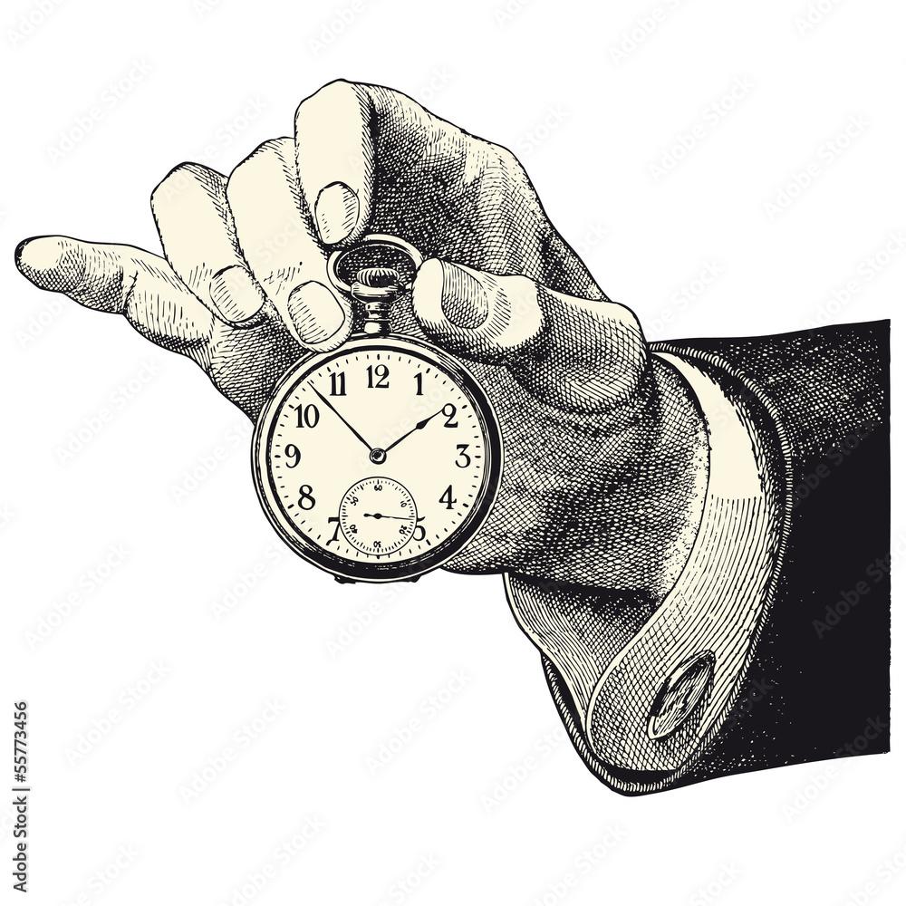 Fototapeta Main d'homme tenant une montre