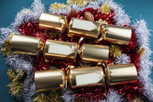 Christmas Crackers With Blank Labels - Red, Gold, Silver And Gre