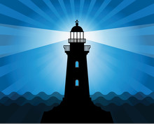 Lighthouse Silhouette On Abstract Sea Background, Vector