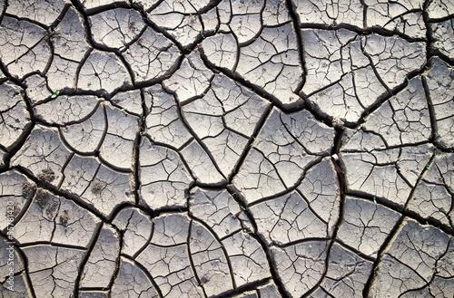 Obraz na płótnie Cracked clay ground into the dry summer season
