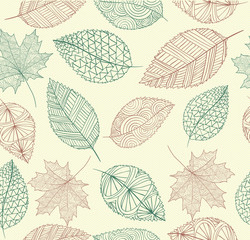 FototapetaVintage drawing fall leaves seamless pattern background. EPS10 f
