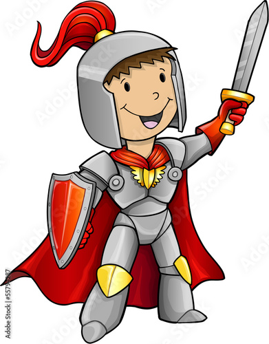 Photo Stands Cartoon draw Hero Knight Vector Illustration