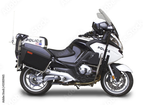 Poster Motocyclette Police Motorcycle - Side View Angle