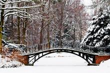Winter Scene - Old Bridge In Winter Snowy Park
