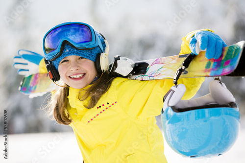 Tablou Canvas Skiing, skier, winter  - portrait of happy young skier