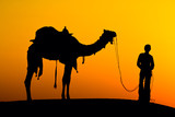 Silhouette of a man and camel at sunset, India. - 55803056