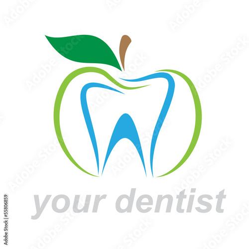 Photo  Vector Logo dentist. Bite the apple
