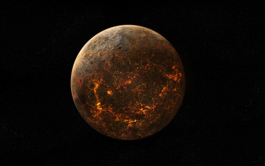 Covered in lava extraterrestrial planet