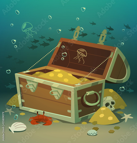 Treasure chest at the bottom of the sea