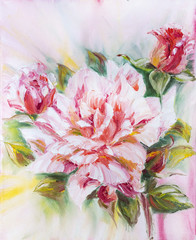 Panel Szklany Peonie Beautiful rose, oil painting on canvas