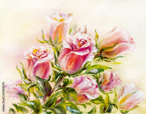 Obraz w ramie Roses, oil painting on canvas