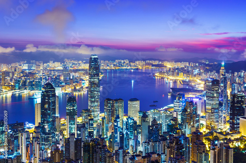 Hong Kong city skyline during sunrise Poster