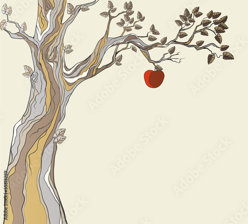 Fototapeta Original sin. Tree with apple.