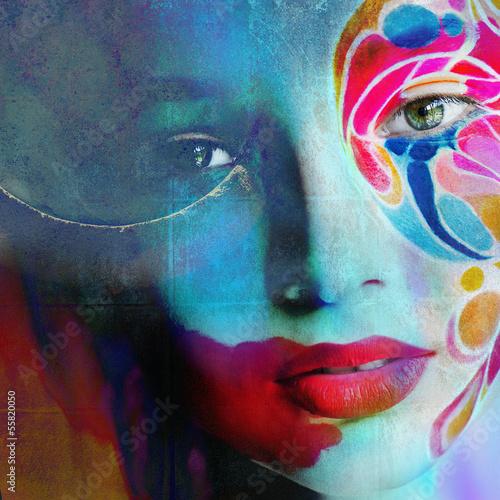 color face art woman close up portrait