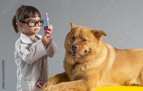Fotografering  Girl playing veterinarian with dog