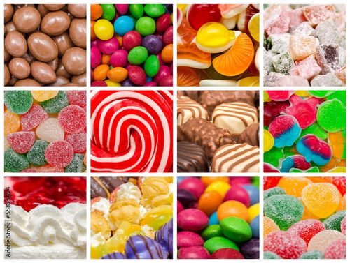 Poster Confiserie Delicious Sweets Background Collage With Confectionery