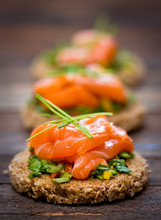 Canapes With Smoked Salmon And...