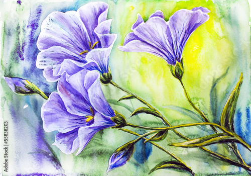 Obraz w ramie Wildflowers. Watercolor painting.