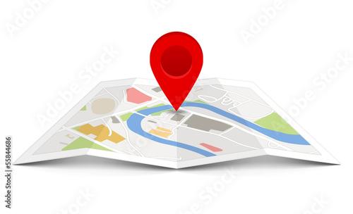 Cuadros en Lienzo  Vector map with pin pointer