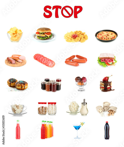 Collage of different unhealthy food © Africa Studio