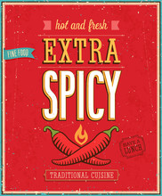 Vintage Extra Spicy Poster. Ve...