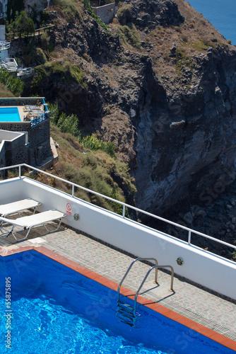 In de dag Rio de Janeiro Swimming pools and hotels on the Caldera in Santorini,