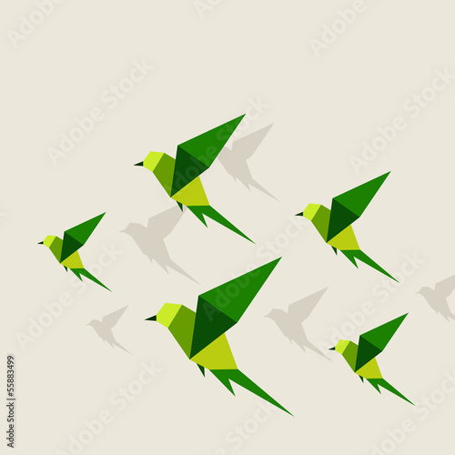 Tuinposter Geometrische dieren Bird abstraction2