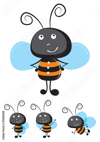 Canvas Prints Ladybugs Bee vector