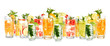Many different refreshing fruit cocktail isolated on white