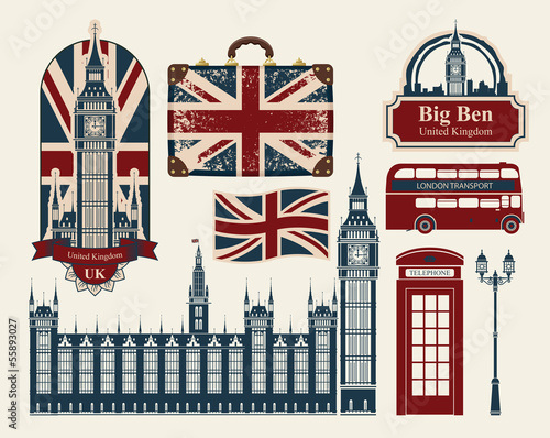 Fotografie, Tablou  set of drawings on the theme of Great Britain and London