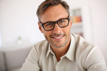 Portrait Of Handsome Guy With Eyeglasses